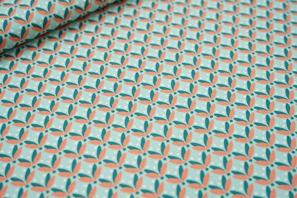 Baumwolle Blätter und Punkte mint / grün / pfirsich / weiß