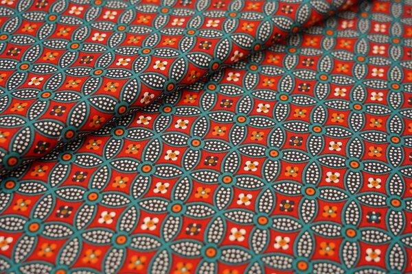 Baumwollstoff abstraktes Retro-Muster Kreise Blumen rot / petrol / orange