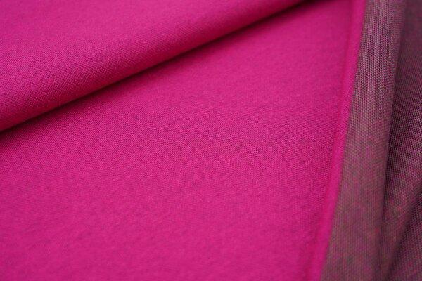 Jacquard-Jersey amarant pink Uni mit amarant pink / grün / navy blauer Rückseite