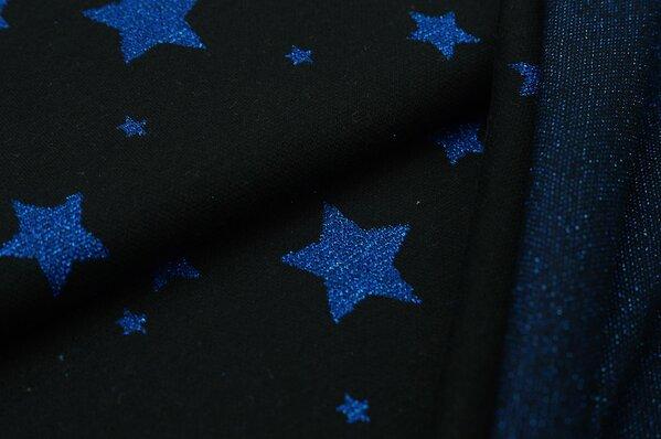 Jacquard-Sweat Ben blaue Lurex Glitzer Sterne auf schwarz