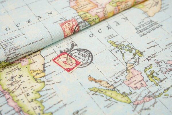 Dekostoff Canvas Weltkarte mit Briefmarken & Postkartenstempel bunt