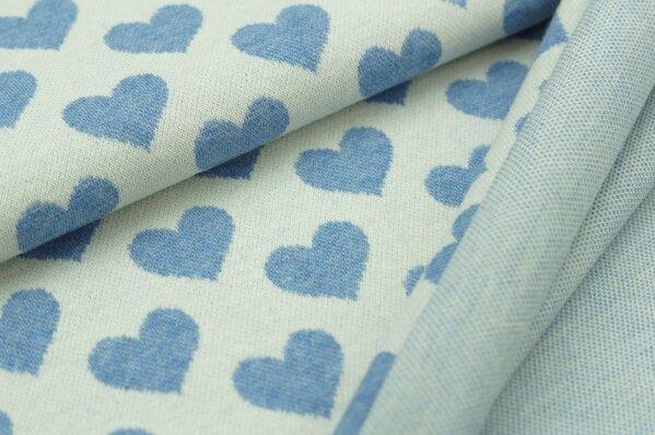Jacquard-Sweat Mia pastell jeansblau Melange Herzen auf off white