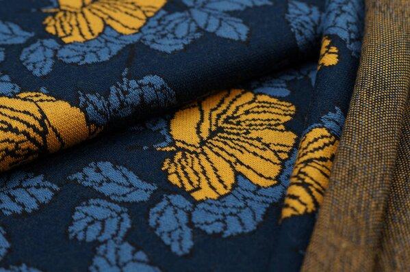 Jacquard-Sweat Ben Blumen-Muster mit Blättern navy blau / taupe blau / senf