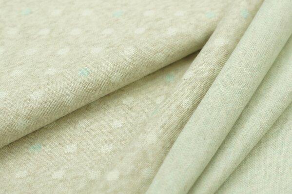 Jacquard-Sweat Mia off white und pastell mint Punkte auf pastell beige Melange