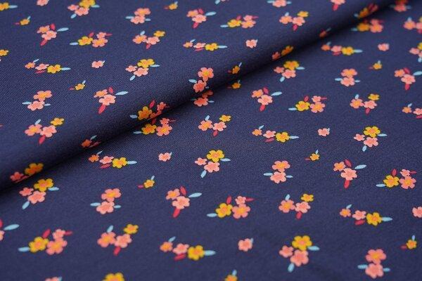 Baumwoll-Jersey mit bunten Blumen auf dunkelblau