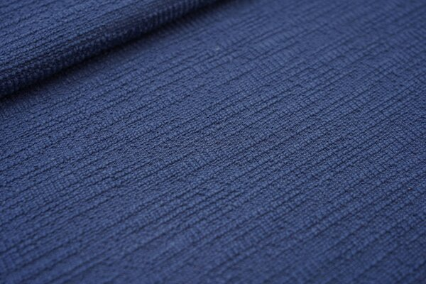 Elastischer Baumwoll Strukturstoff Bouclé-Jersey uni jeansblau