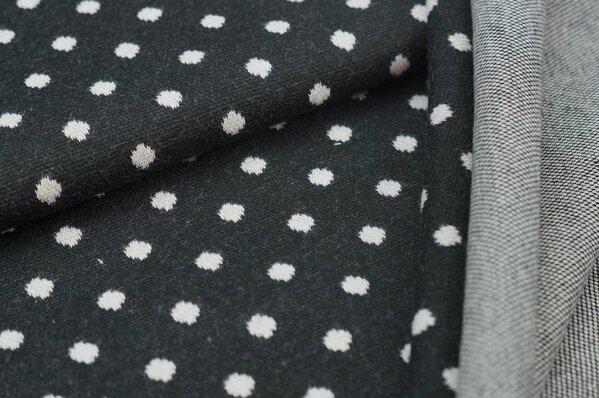 Jacquard-Sweat Ben off white Punkte Tupfen auf schwarz