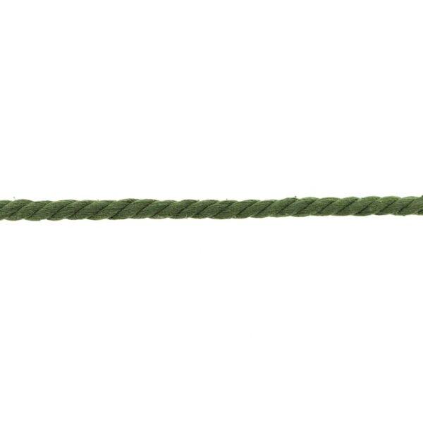 Baumwoll-Kordel gedreht rund uni Armee grün 8 mm breit