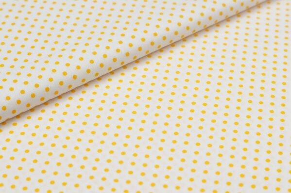 2mm kleine weiße Punkte auf GELB Baumwollstoff