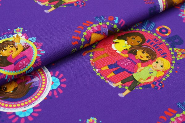Jersey Dora and Friends Digitaldruck lila bunt