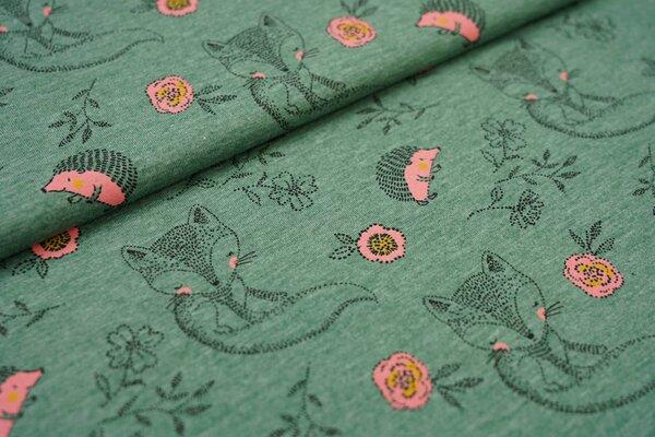 Baumwoll-Jersey Fuchs und Igel mit Blumen auf grün meliert