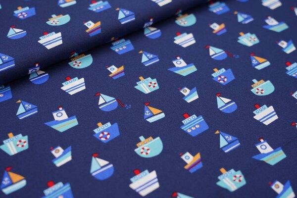 Baumwollstoff Boote Schiffe auf dunkelblau maritim