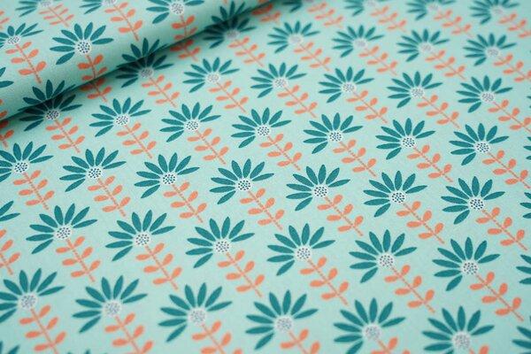 Baumwolle Blumen mint / grün / pfirsich / weiß