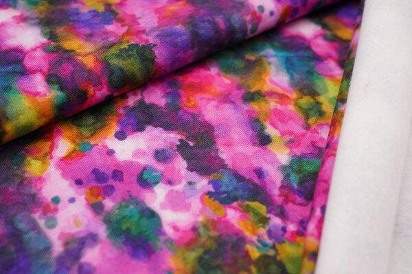 Kuscheliger Baumwoll-Sweat Digitaldruck mit buntem Batik-Muster rosa pink lila