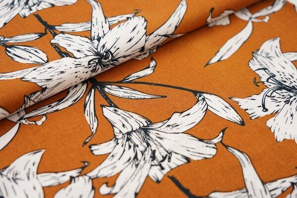 Viskose-Leinen Stoff große Blumen Lilien rostorange / weiß