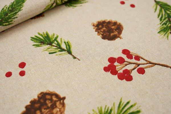 Canvas-Stoff Dekostoff Leinenoptik Kienäpfel Beeren Tannenzweige auf natur
