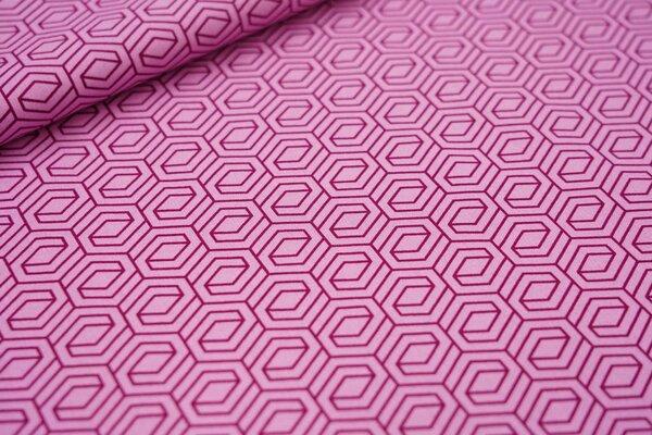 Baumwollstoff 3D Geometrie Muster hell pink / bordeaux rot