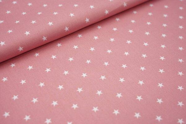Baumwolle weiße Sterne auf pastell altrosa