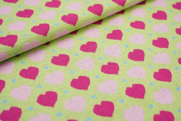 Jacquard Bündchen glatt Schlauchware Herzen und Punkte hellgrün rosa pink blau