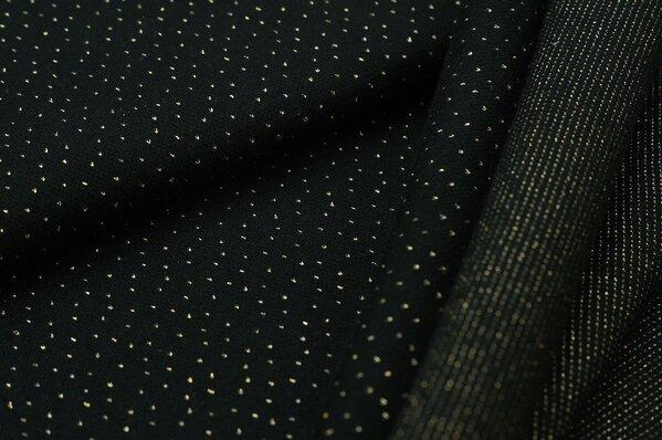 Jacquard-Sweat Ben kleine gold Lurex Glitzer Pünktchen auf schwarz
