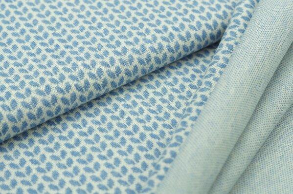 Jacquard-Sweat Mia pastell jeansblau Melange kleine Blätter auf off white
