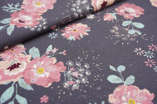 Baumwoll-Sweat mit großen Blumen Pfingstrosen auf dunkelgrau