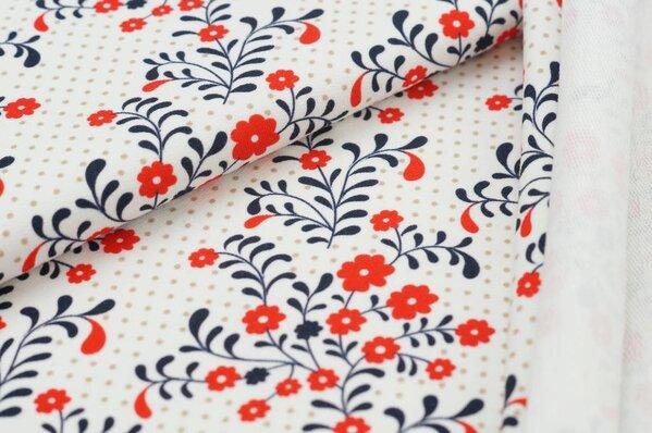 XXL Baumwoll-Sweat mit Digitaldruck Blumen-Muster / Punkte auf off white