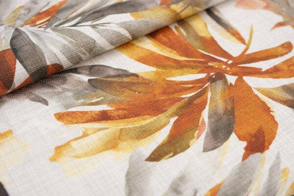 Canvas-Stoff Dekostoff große Blätter Farne hell beige / rotbraun / gelb / braun