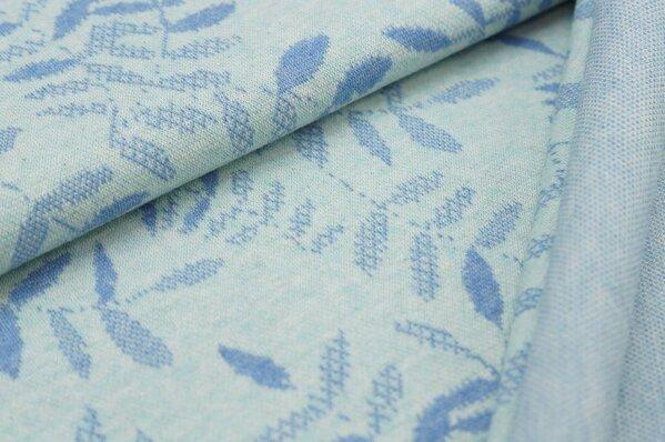 Jacquard-Sweat Mia pastell jeansblau Melange Blätter auf pastel mint Melange