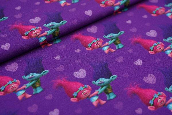 Jersey Trolls Poppy und Branch Digitaldruck hell lila Herzen auf lila