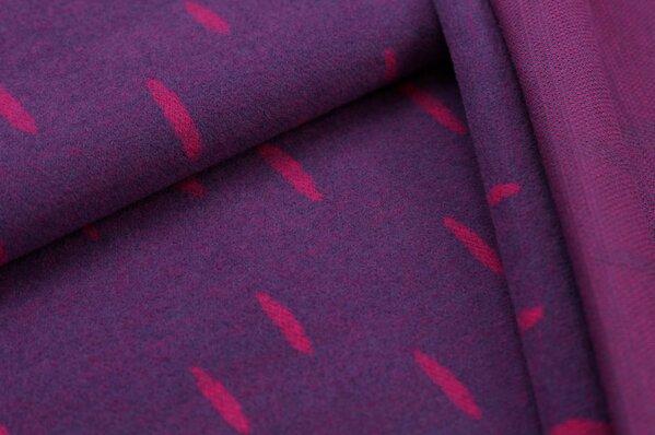 Kuschel Jacquard-Sweat Max amarant pinke ovale Tropfen auf lila