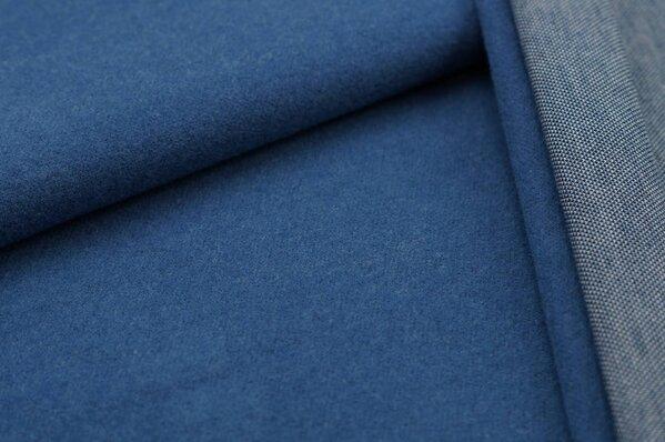 Kuschel Jacquard-Sweat Max Uni taupe blau mit navy blau
