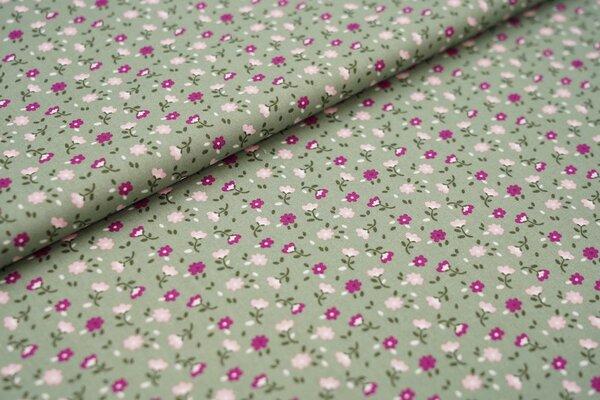 Baumwollstoff mit kleinen Blumen altgrün / violett / rosa / weiß / grün
