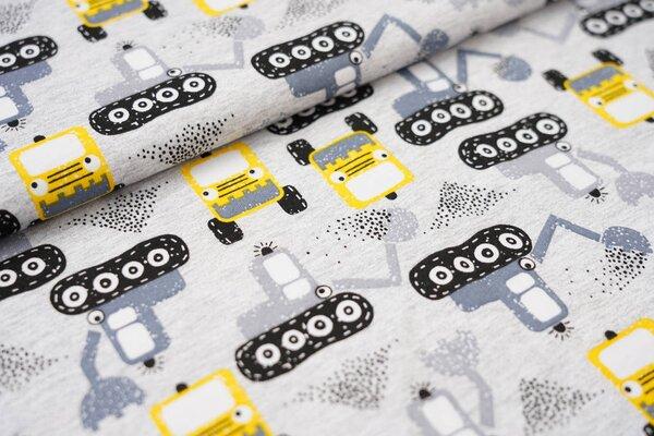 Sommer T-Shirt-Stoff / leichter Jersey Bagger in grau und gelb auf hellgrau meliert