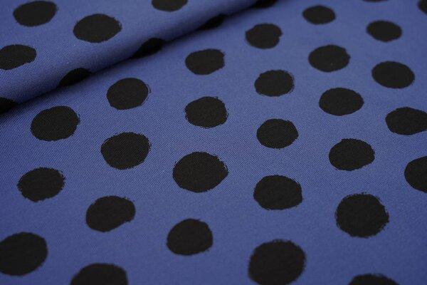 Baumwoll-Jersey große schwarze Punkte auf taupe blau