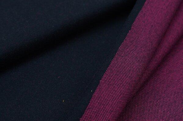 Jacquard-Sweat Ben navy blau Uni mit navy blau und amarant pink Rückseite