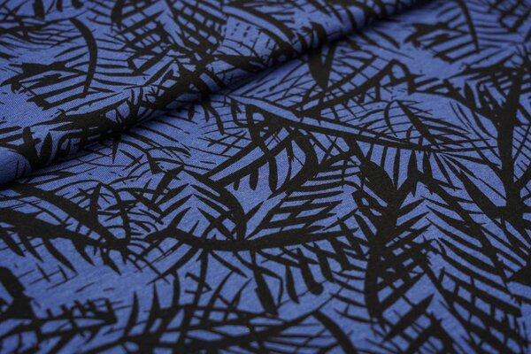 Viskose-Jersey Farne Blätter taupe blau / schwarz
