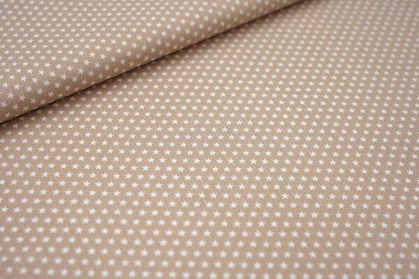 Baumwollstoff Baumwolle beige sand mit kleinen weißen Sternen