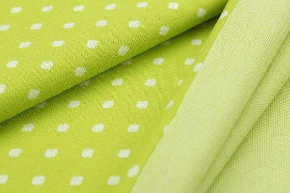 Jacquard-Sweat Ben off white Punkte Tupfen auf limetten grün