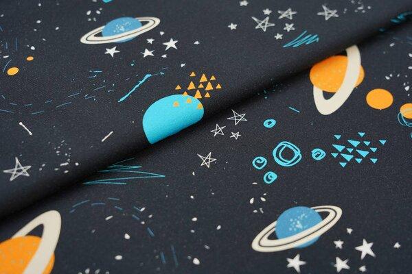 Baumwoll-Jersey Digitaldruck Planeten Weltall Dreiecke Sterne schwarz