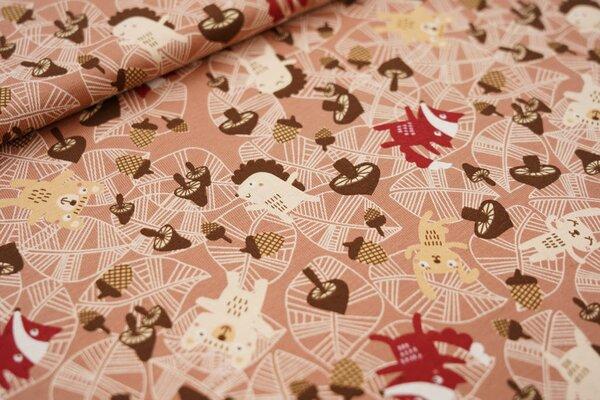 Baumwoll-Jersey Tiere Eicheln Blätter und Pilze auf rotbraun Fuchs Igel Hase Bär