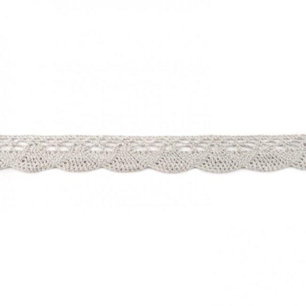 Häkelborte Spitzenborte Baumwolle uni hellgrau 20 mm breit Klöppelspitze