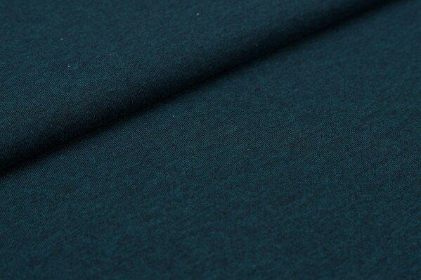 Baumwoll-Jersey uni sehr dunkelpetrol grau meliert