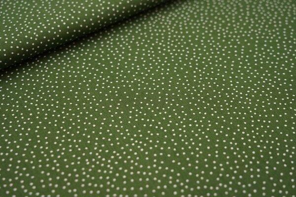 Baumwollstoff kleine unregelmäßige weiße Punkte auf farngrün