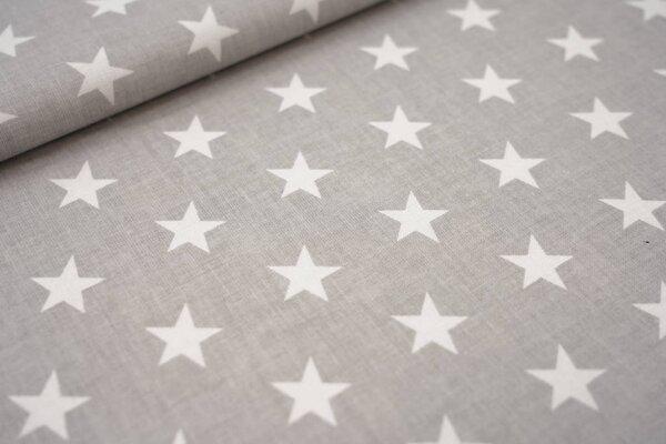 Baumwollstoff weiße Sterne auf hellgrau maritime Baumwolle