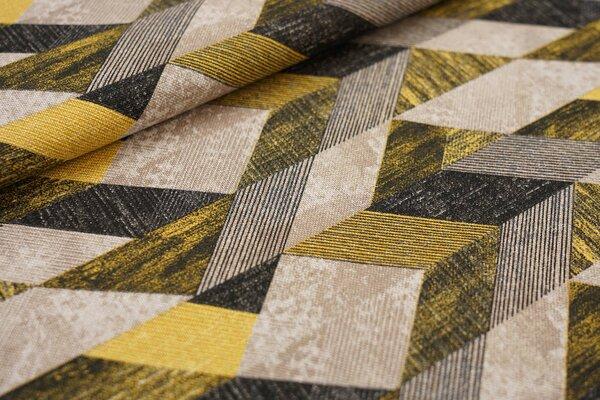 Canvas-Stoff Dekostoff Dreieck-Viereck Muster gelb / hellbraun / schwarz / natur