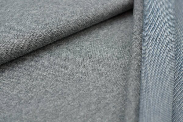 Jacquard-Sweat Mia mittelgrau Melange Uni mit mittelgrau / taupe blau Rückseite