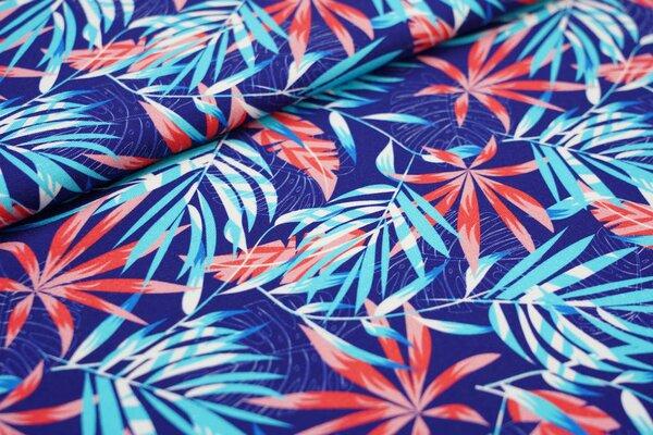 Baumwoll-Jersey Digitaldruck Palmenblätter dunkelblau / hell türkis / koralle