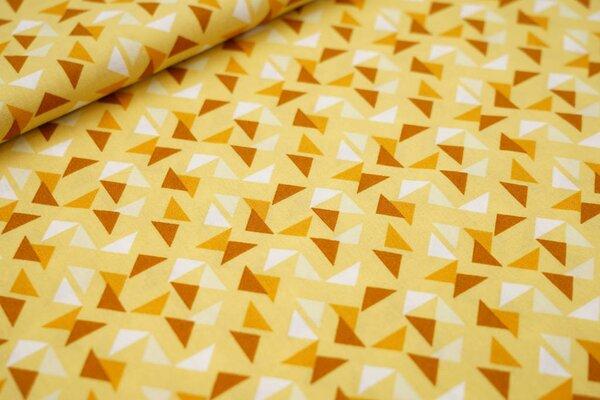 Baumwollstoff Dreiecke auf gelb