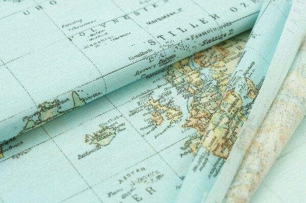 Dekostoff Leinenoptik Weltkarte blau